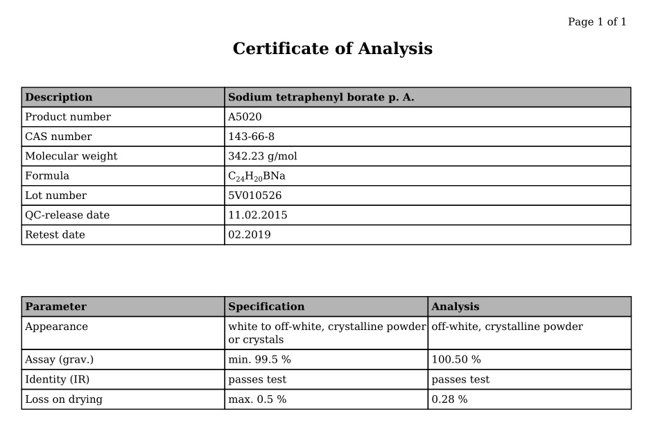 Sodium tetraphenyl borate p. A.