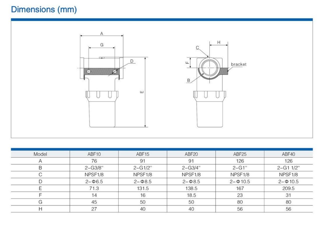 Фильтр ABF-15 Размеры